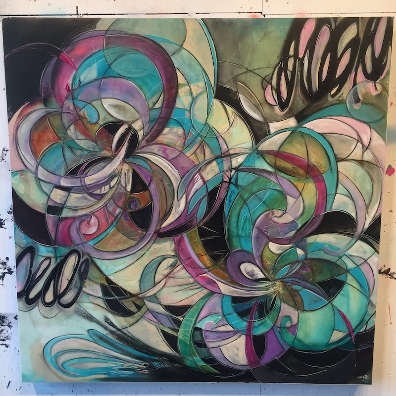"Collaborative Painting for Paintpushers ""Collision"" Show  36 x 36 Acrylic on Canvas Artists Chris Vance & Melynda Van Zee © 2016"