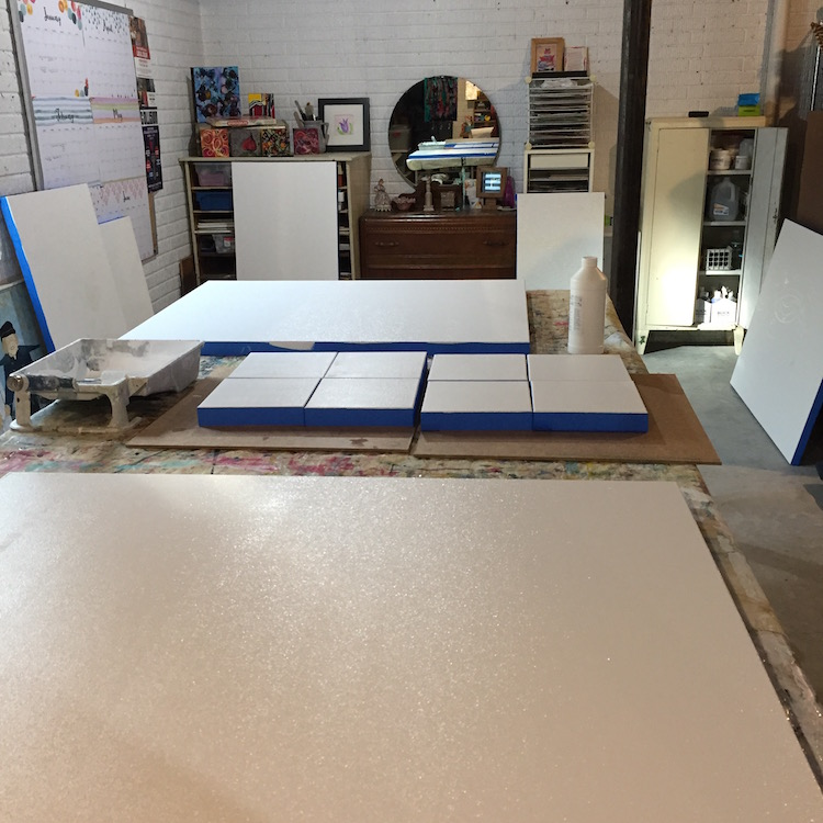 As you can see...canvases are spread out everywhere this time of year...