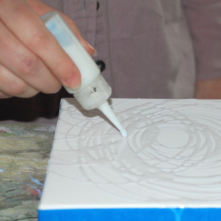 Studio close up of creating the first layer of line work
