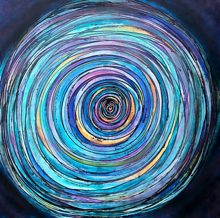 Spiral painting by Melynda Van Zee that depicts a swirl of changes and challenges