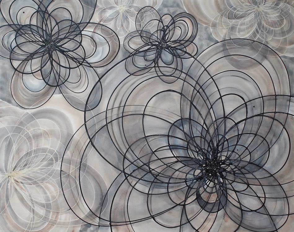 Resting in the Shadows is a large painting of black, cream, and white overlapping spiral shapes.